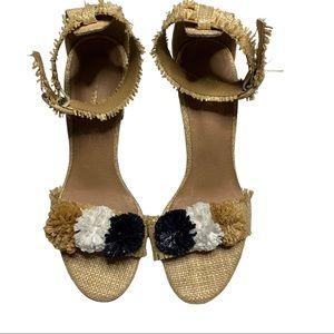 ALL BLACK sz 39 raffia heeled sandals